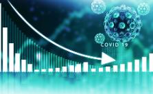 水色の背景にウイルスの形をした丸いものがあり、グラフが左上から右下に下がっている。