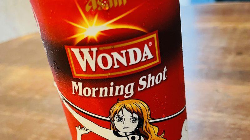 wondaの缶にONE PIECEのナミが描かれている缶